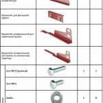 Таблица компелектующих для снегозадержателей Борге