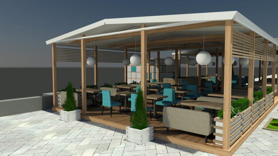 Дизайн-проект лёгкой веранды для кафе
